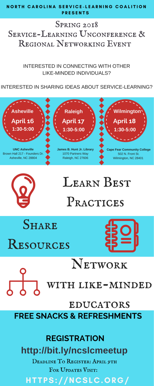spring 2018 service-learning 'unconference' and regional networking