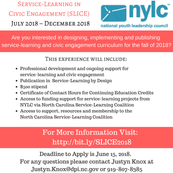 Service Learning in Civic Engagement (SLICE) July, 2018 – December, 2018